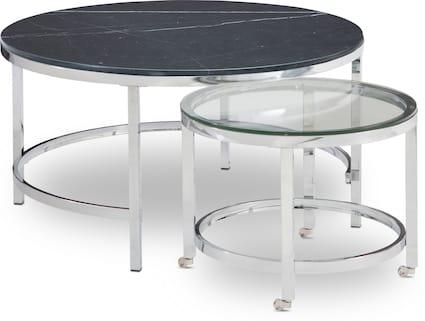 Charisma Marble Nesting Coffee Table - Black