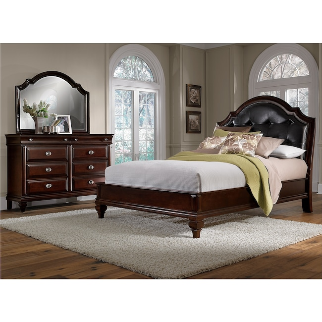 Manhattan 5-Piece Queen Upholstered Bedroom Set - Cherry | Value ...