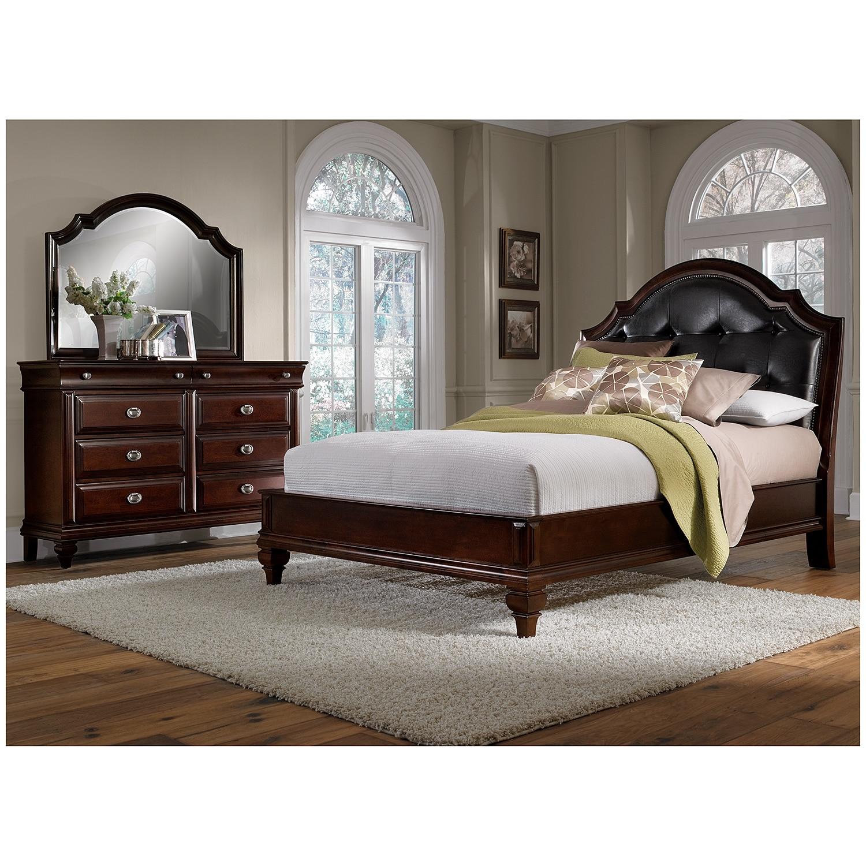 Ordinaire Manhattan 5 Piece Queen Upholstered Bedroom Set   Cherry