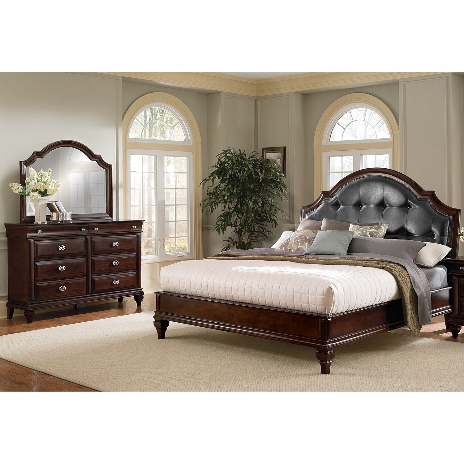 Manhattan 5-Piece King Upholstered Bedroom Set - Cherry | Value ...