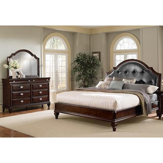 Manhattan 5 Piece King Upholstered Bedroom Set   Cherry. Marilyn 6 Piece King Bedroom Set   Ebony   Value City Furniture
