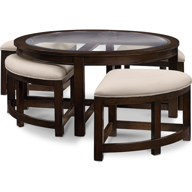 Accent and Occasional Furniture - Four Corners Cocktail Table w/ 4 Benches - Merlot