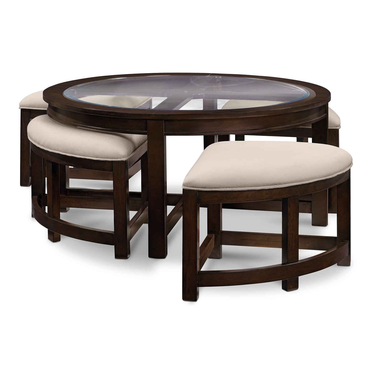 Four Corners Cocktail Table W/ 4 Benches   Merlot