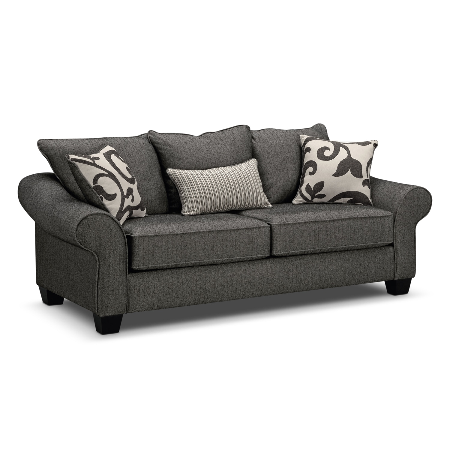 Sofas couches living room seating value city furniture and colette sofa gray parisarafo Gallery