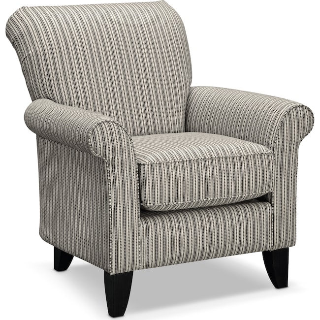 Living Room Furniture - Colette Accent Chair - Gray Stripe