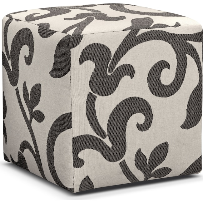 Living Room Furniture - Colette Cube Ottoman - Gray