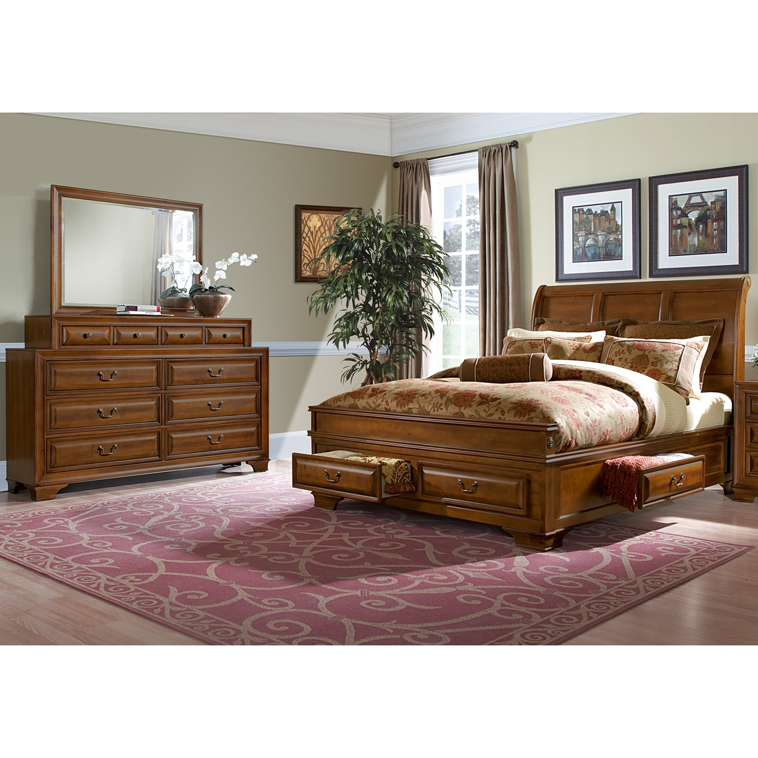 Bedroom Furniture - Sanibelle 5-Piece King Storage Bedroom Set - Pine