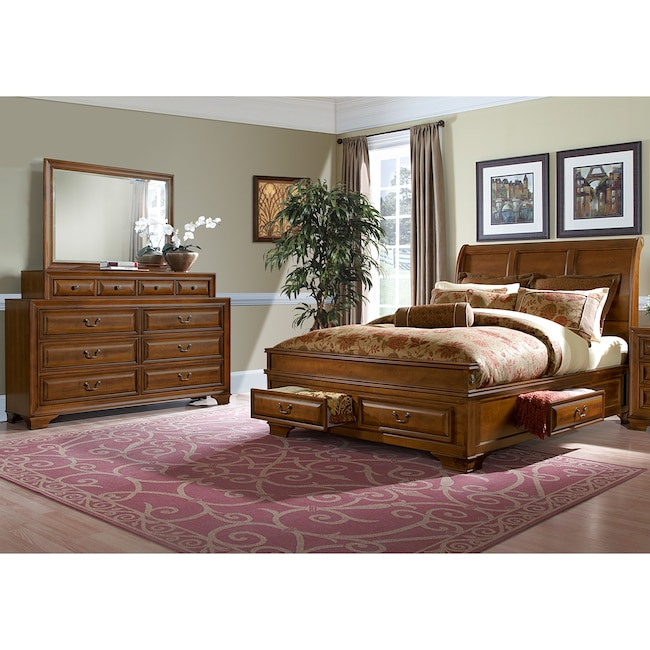 When Are Furniture Sales: Sanibelle 5-Piece Queen Storage Bedroom Set - Pine