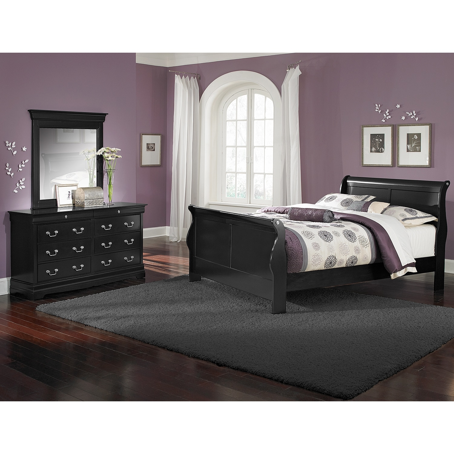 Bedroom Furniture - Neo Classic Youth 5-Piece Full Bedroom Set - Black