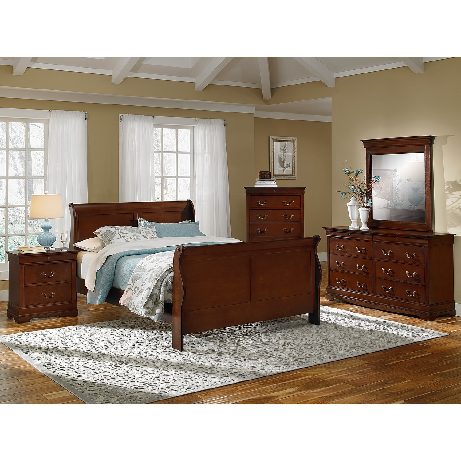 Bedroom Furniture - Neo Classic 7-Piece King Bedroom Set - Cherry