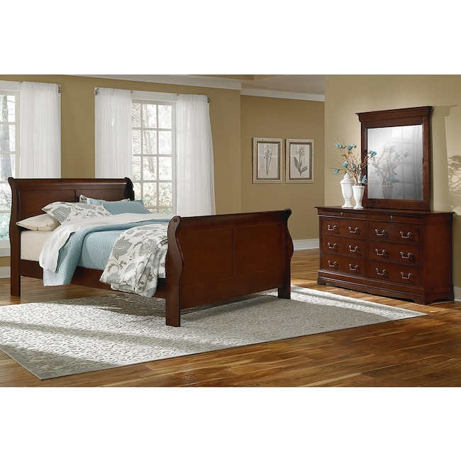 Bedroom Furniture - Neo Classic 5-Piece King Bedroom Set - Cherry