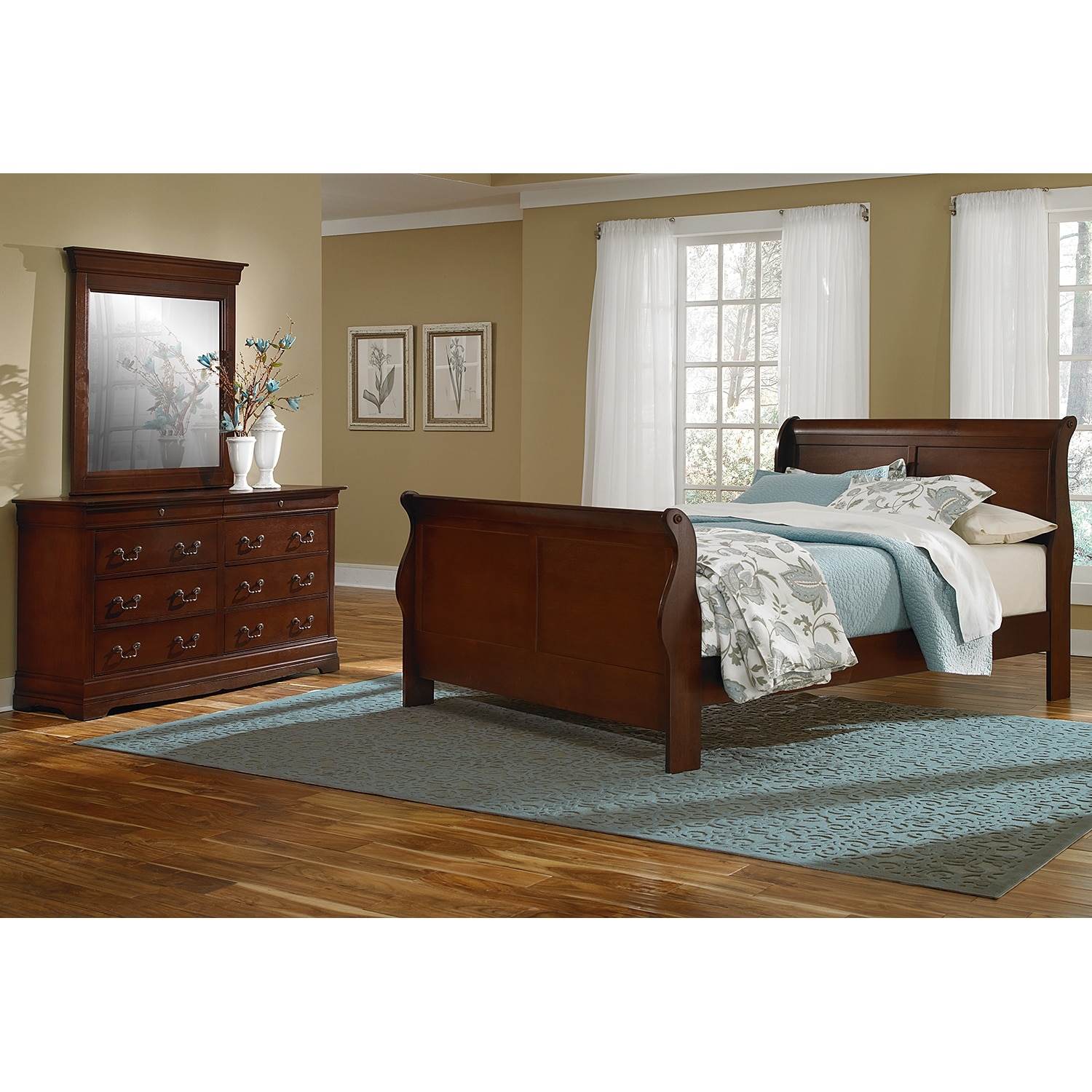 Bedroom Furniture - Neo Classic Youth 5-Piece Full Bedroom Set- Cherry