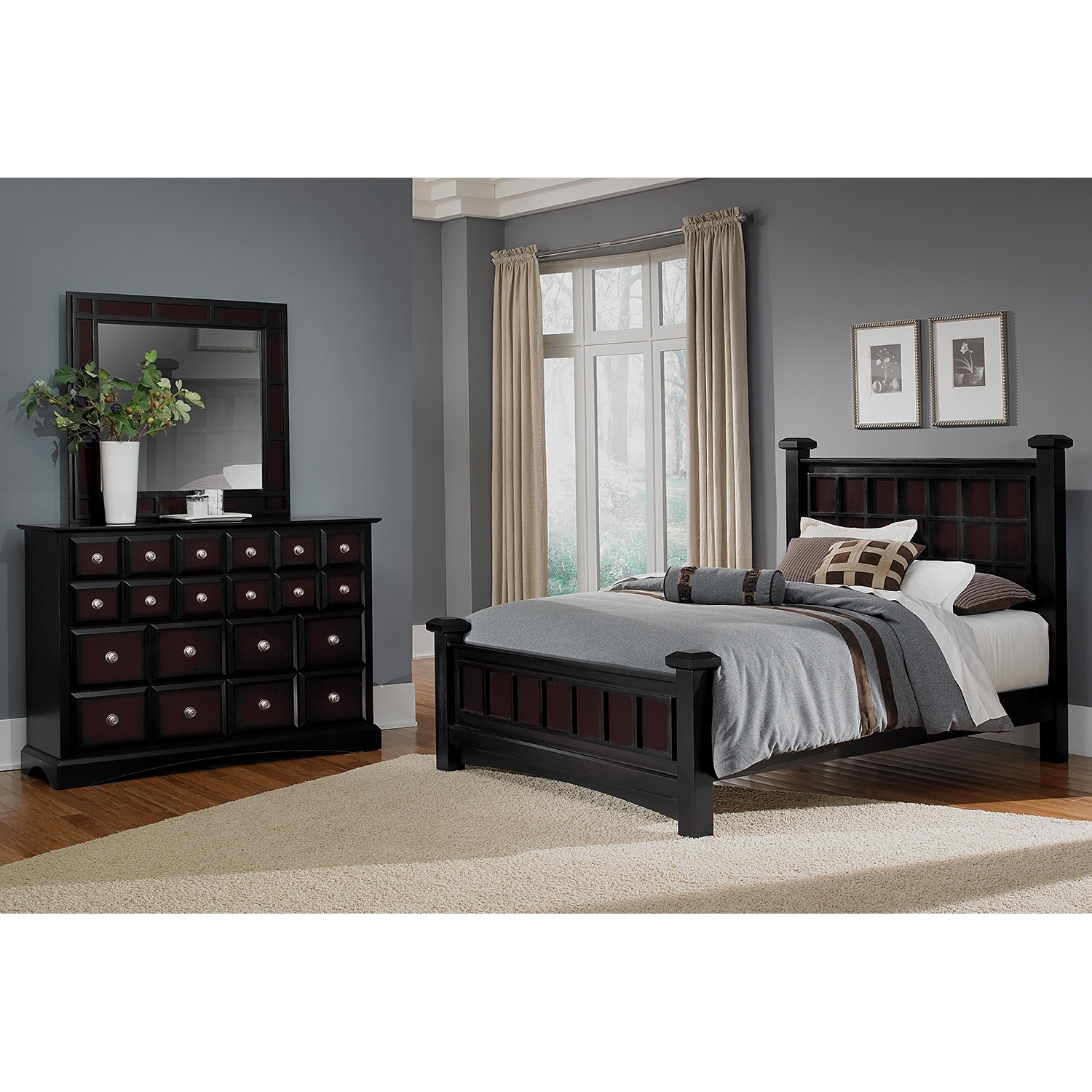 Bedroom Furniture - Winchester 5-Piece Queen Bedroom Set - Black and Burnished Merlot