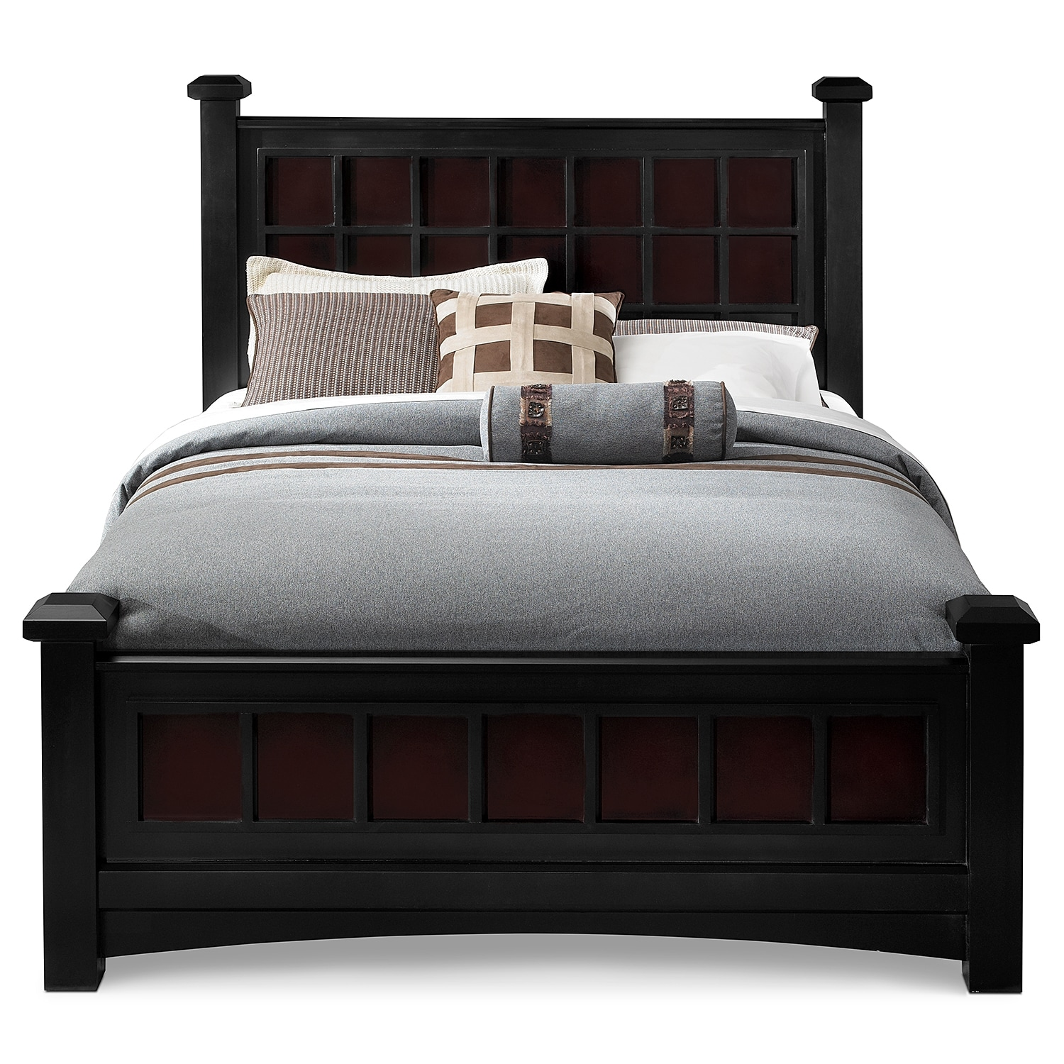 Winchester Queen Bed Black And Burnished Merlot Value
