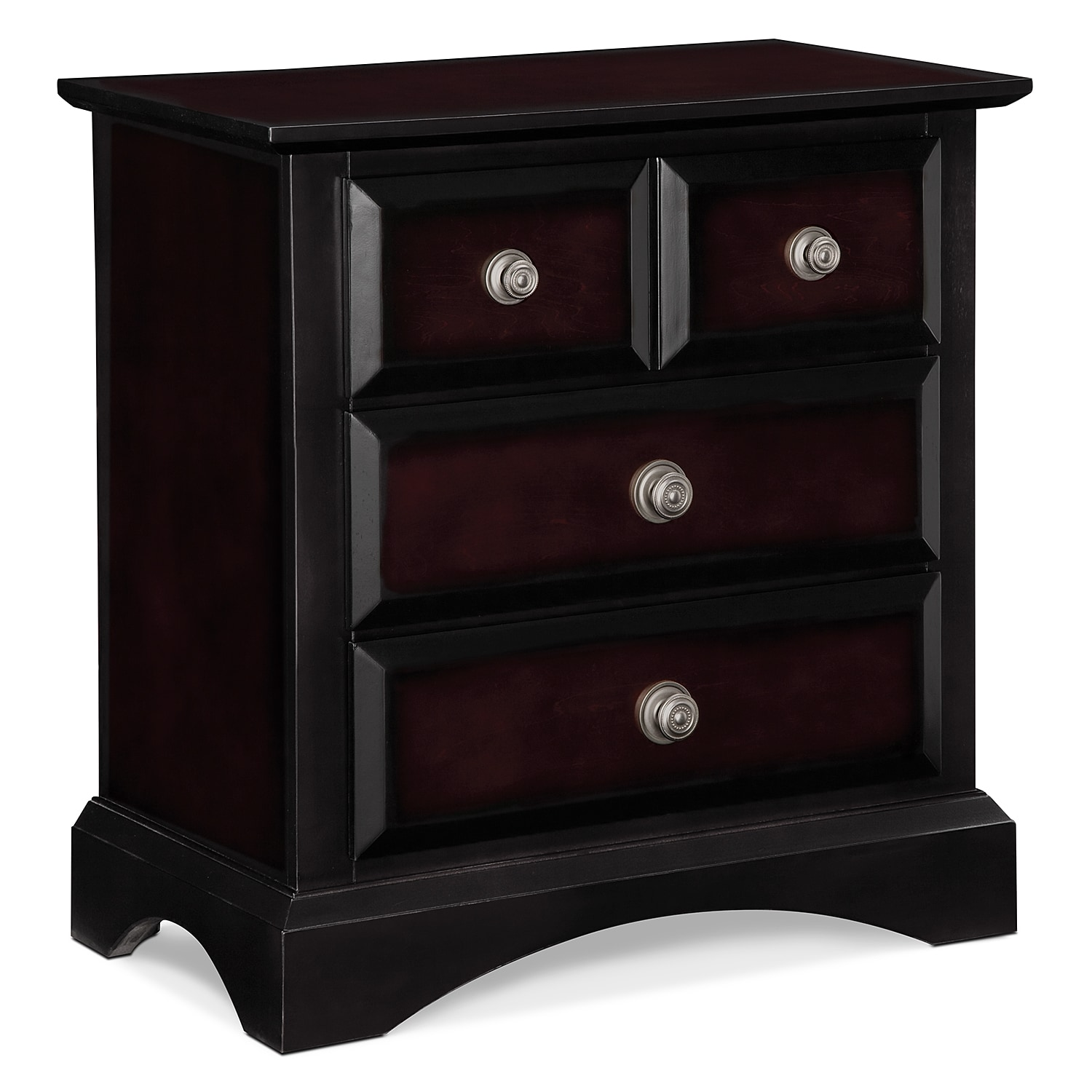Winchester Nightstand - Black and Burnished Merlot