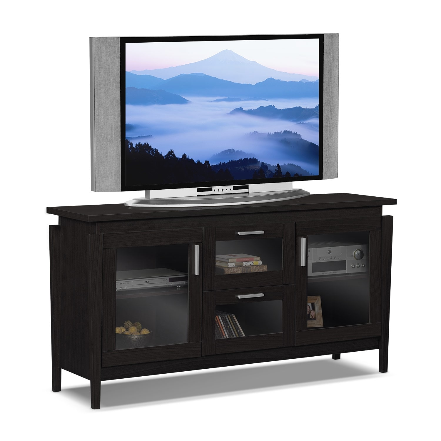 saber  tv stand  merlot  value city furniture - hover to zoom