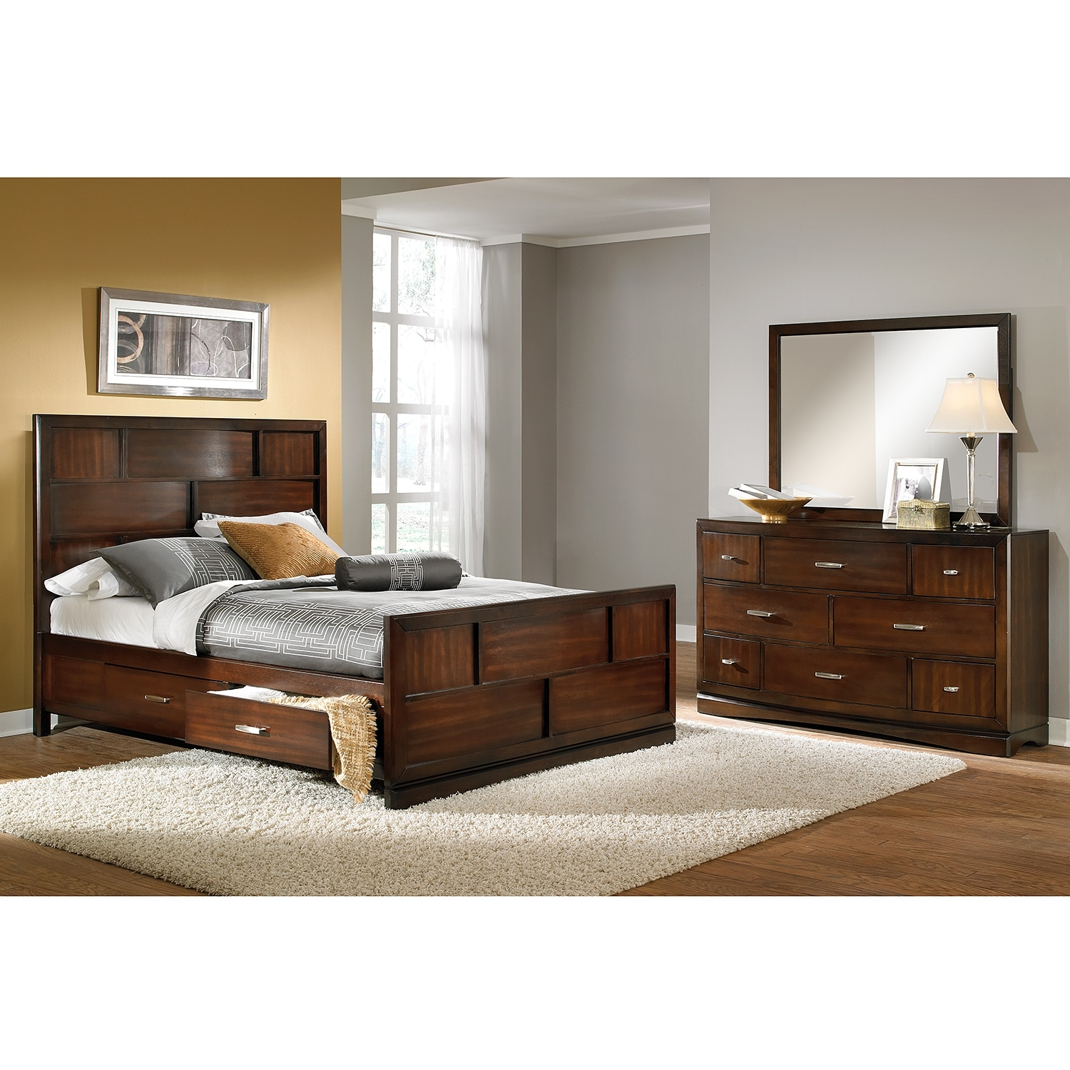 Toronto 5 Piece Queen Storage Bedroom Set Pecan Value City Furniture