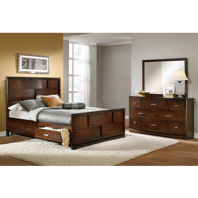 Bedroom Furniture - Toronto 5-Piece Queen Storage Bedroom Set - Pecan