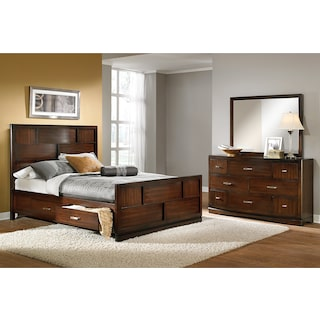 Toronto 5-Piece Storage Bedroom Set with Dresser and Mirror