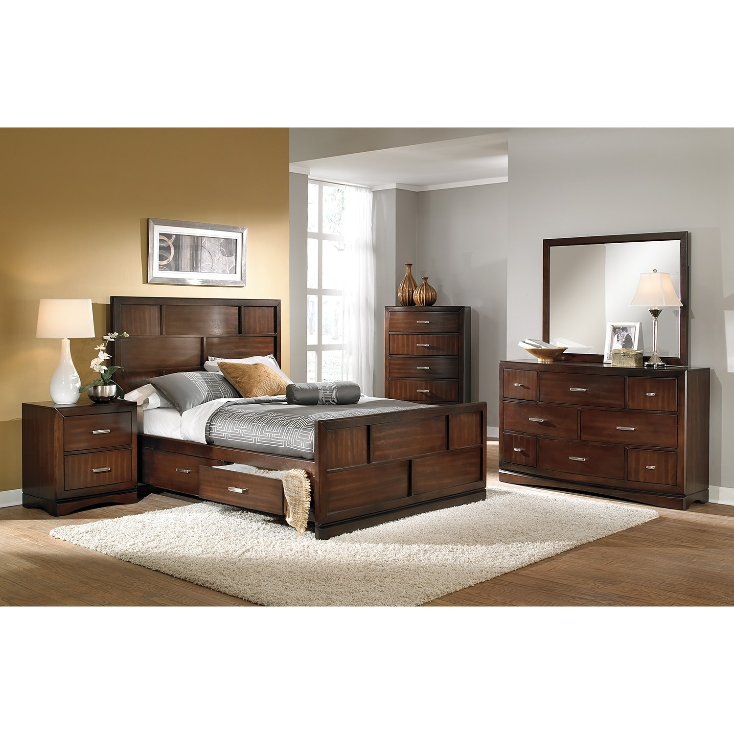 Furniture Com: Toronto Pecan Storage Bed