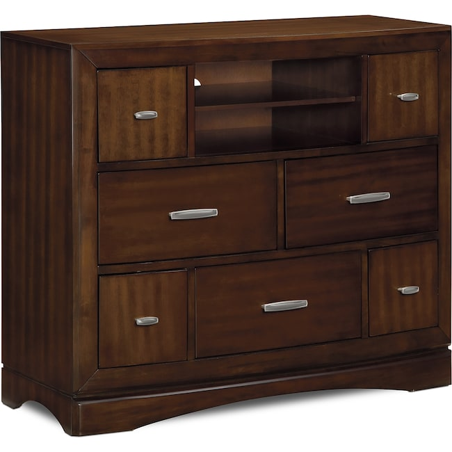 Bedroom Furniture - Toronto Media Chest - Pecan