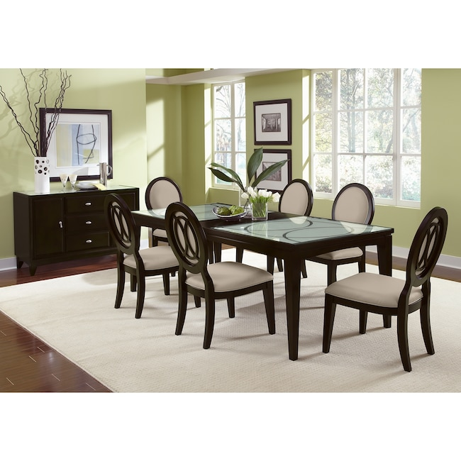 Dining Room Furniture - Cosmo Table and 6 Chairs - Merlot