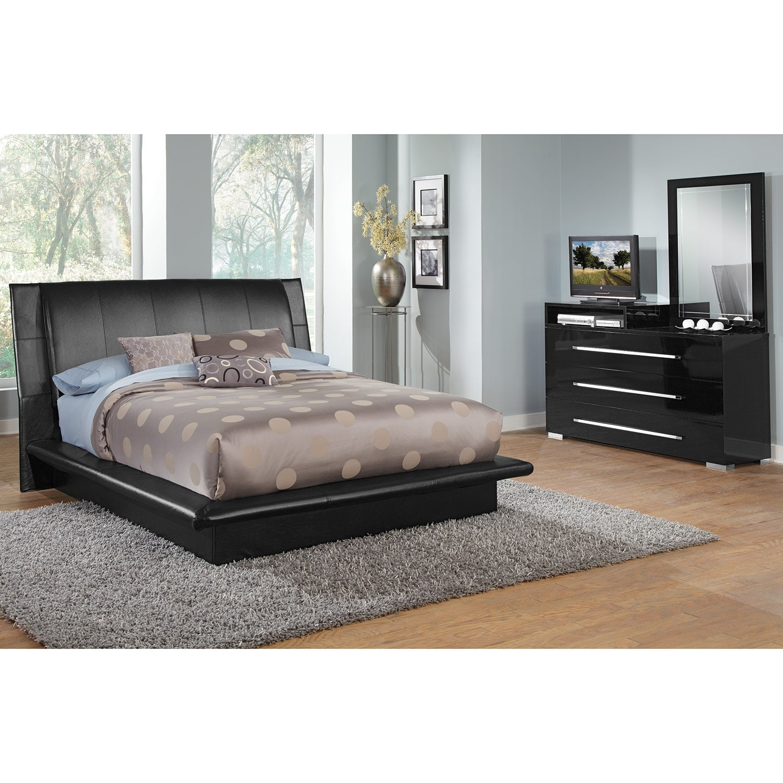 Bedroom Furniture - Dimora 5-Piece Queen Upholstered Bedroom Set with Media Dresser - Black