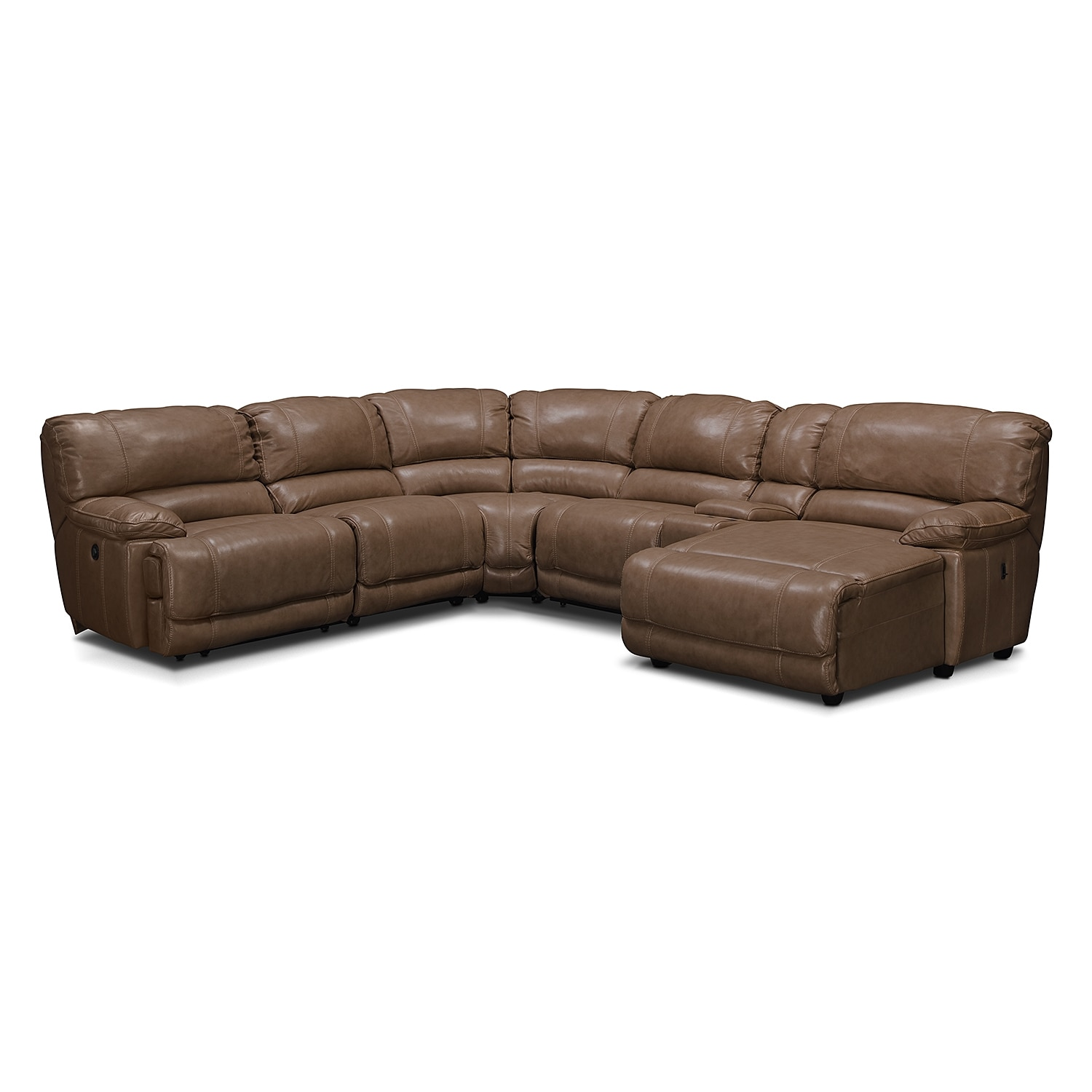 Living Room Furniture - St. Malo 6-Piece Power Reclining Sectional with Right-Facing Chaise - Taupe
