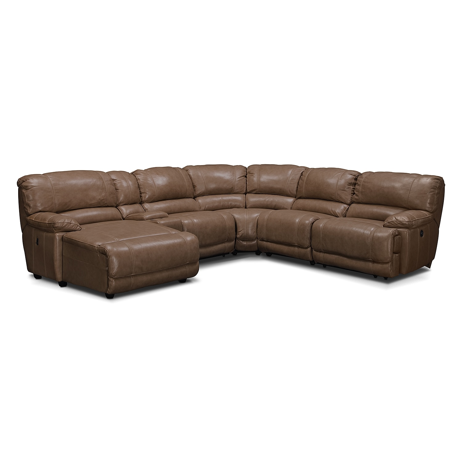 Living Room Furniture - St. Malo 6-Piece Power Reclining Sectional with Left-Facing Chaise - Taupe