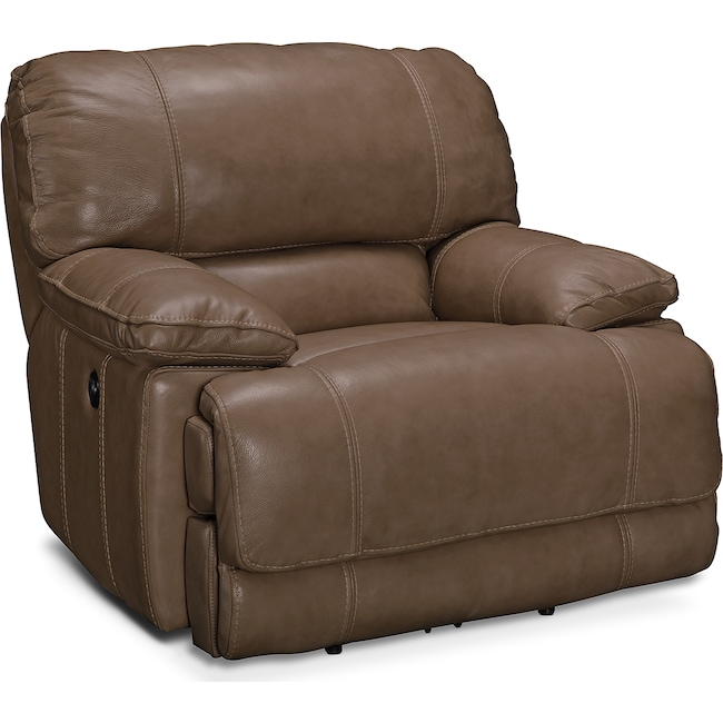 Living Room Furniture - St. Malo Power Recliner - Taupe