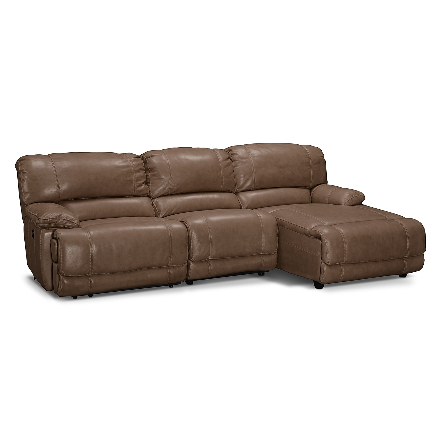 St malo 3 piece power reclining sectional with right for Brighton taupe 3 piece chaise and sofa set