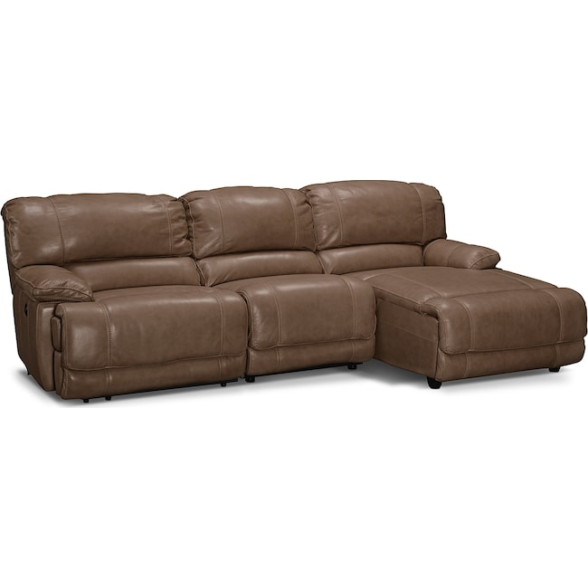 Living Room Furniture - St. Malo 3-Piece Power Reclining Sectional with Right-Facing Chaise - Taupe