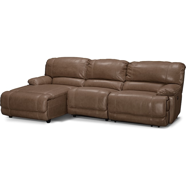 Living Room Furniture - St. Malo 3-Piece Power Reclining Sectional with Left-Facing Chaise - Taupe