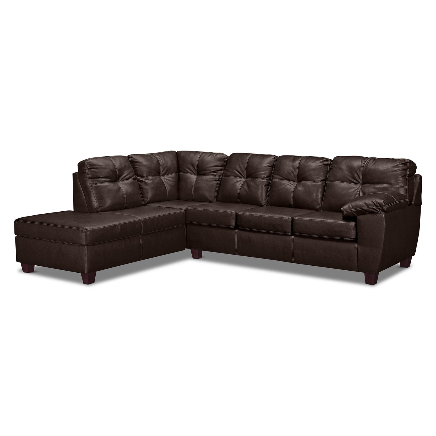 Rialto Brown 2 Pc. Innerspring Sleeper Sectional with Left-Facing Chaise