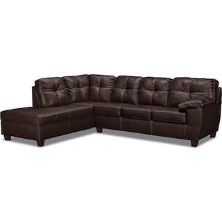 Ricardo 2-Piece Innerspring Sleeper Sectional with Left-Facing Chaise - Brown