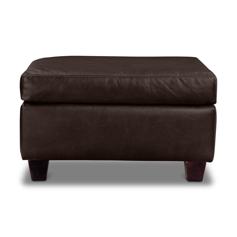 Living Room Furniture - Rialto Ottoman - Brown