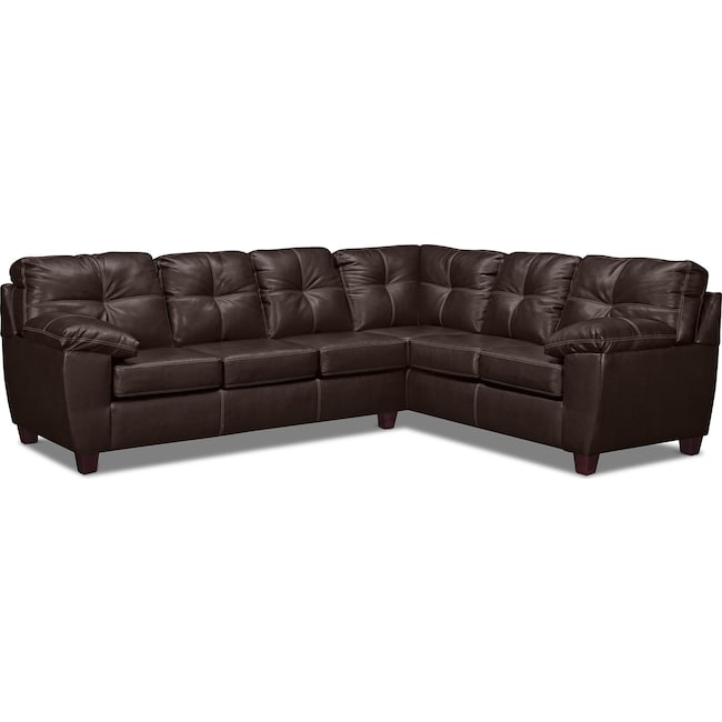 Living Room Furniture - Ricardo 2-Piece Sectional with Right-Facing Sofa - Brown