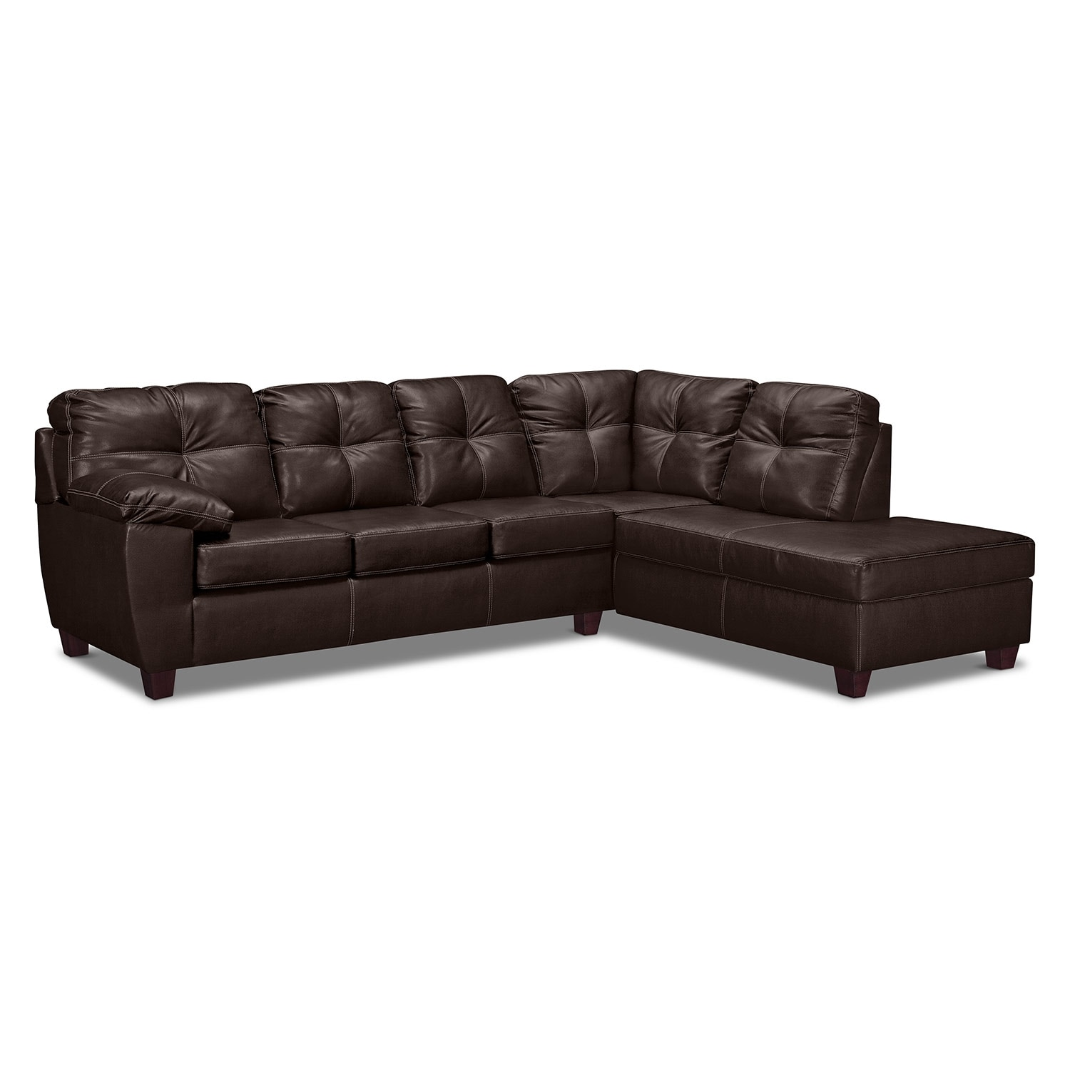 Rialto Brown 2 Pc. Innerspring Sleeper Sectional with Right-Facing Chaise
