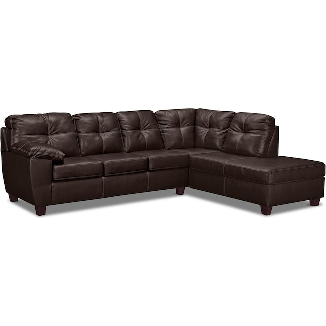 Living Room Furniture - Ricardo 2-Piece Innerspring Sleeper Sectional with Right-Facing Chaise - Brown