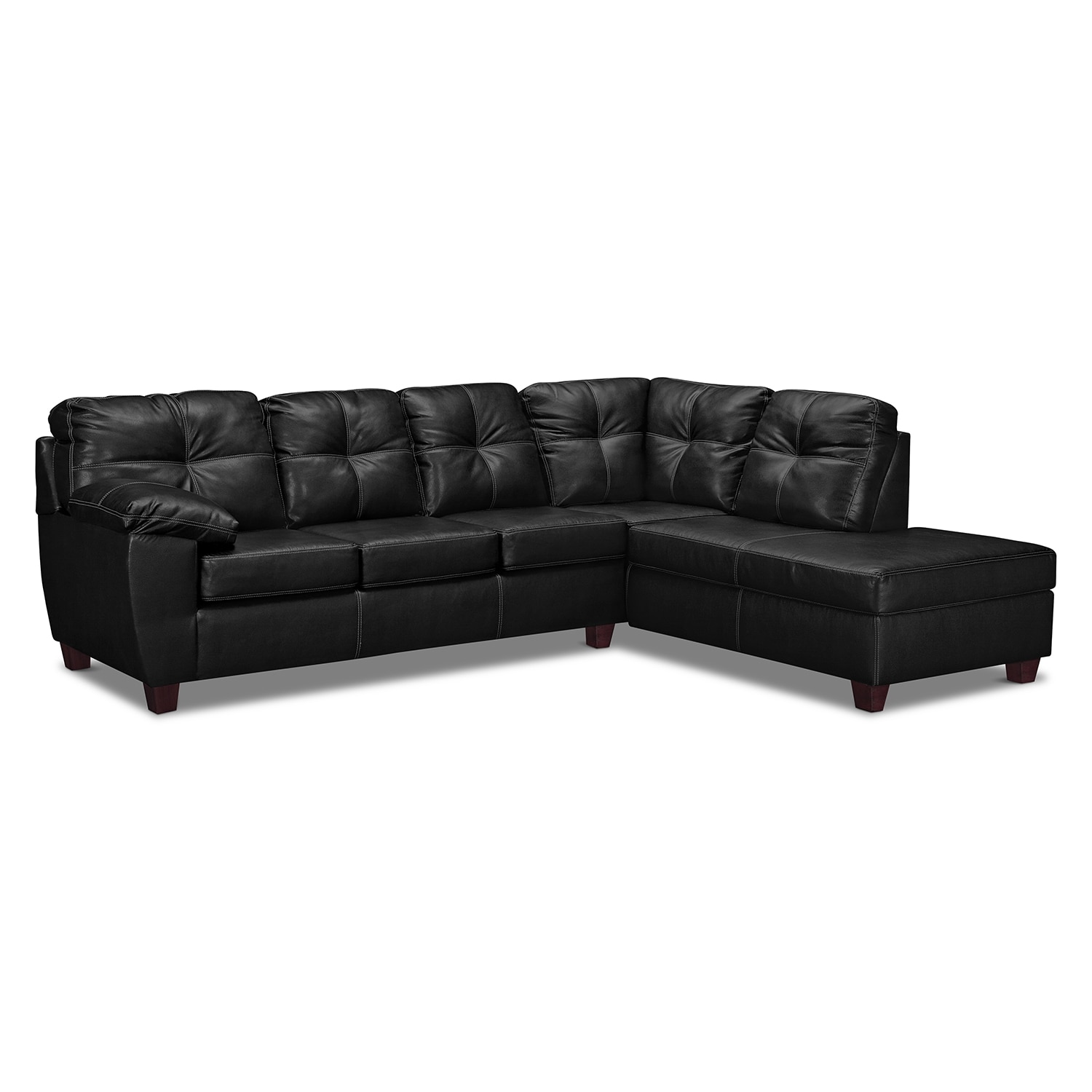 Living Room Furniture - Rialto 2-Piece Innerspring Sleeper Sectional with Right-Facing Chaise - Onyx