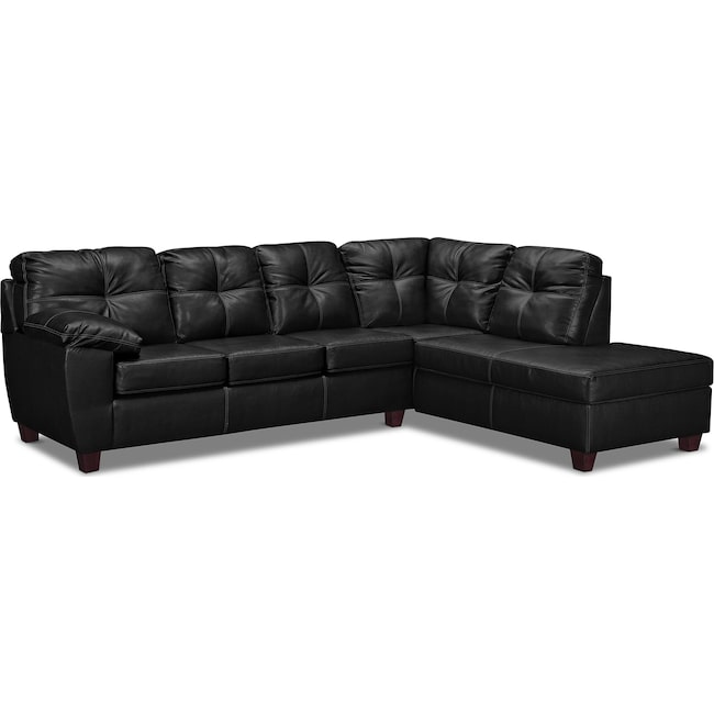 Living Room Furniture - Ricardo 2-Piece Sectional with Right-Facing Chaise - Onyx