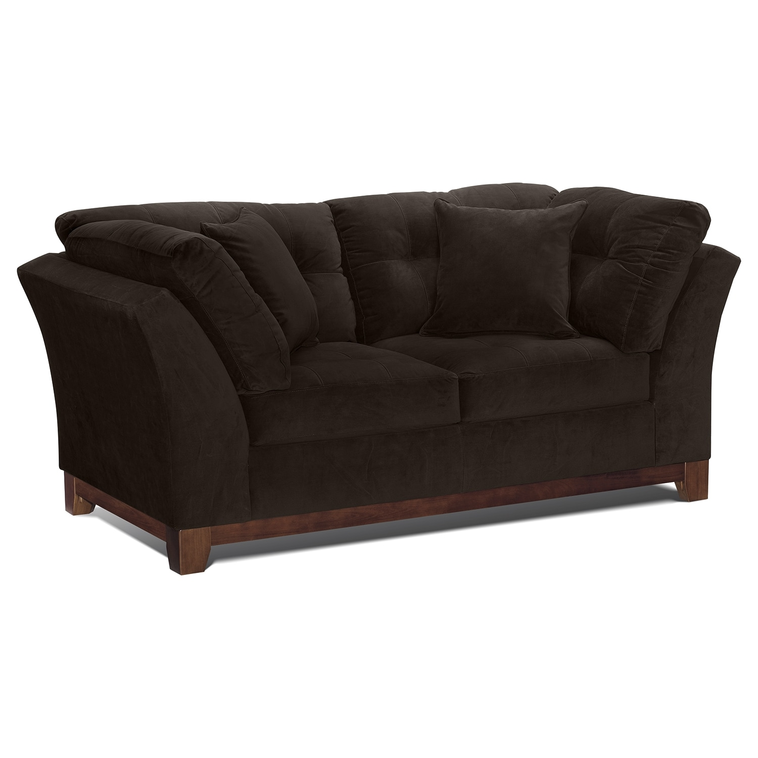 Living Room Furniture - Solace Chocolate Loveseat