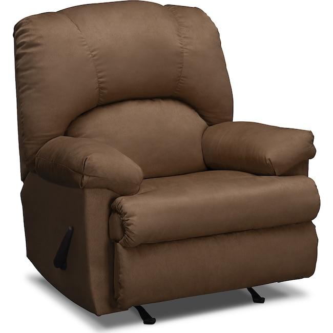Living Room Furniture - Quincy Rocker Recliner - Latte