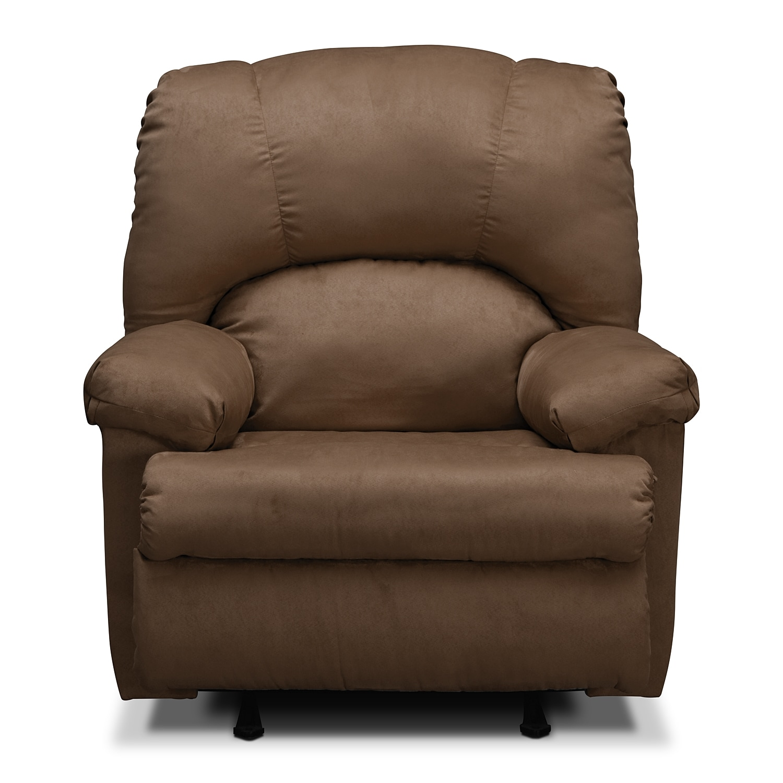 Value City Furniture Recliners: Quincy Rocker Recliner - Latte