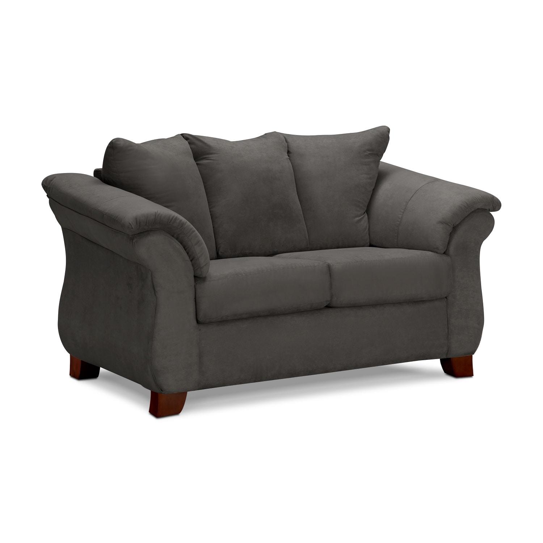 Living Room Furniture - Adrian Loveseat - Graphite
