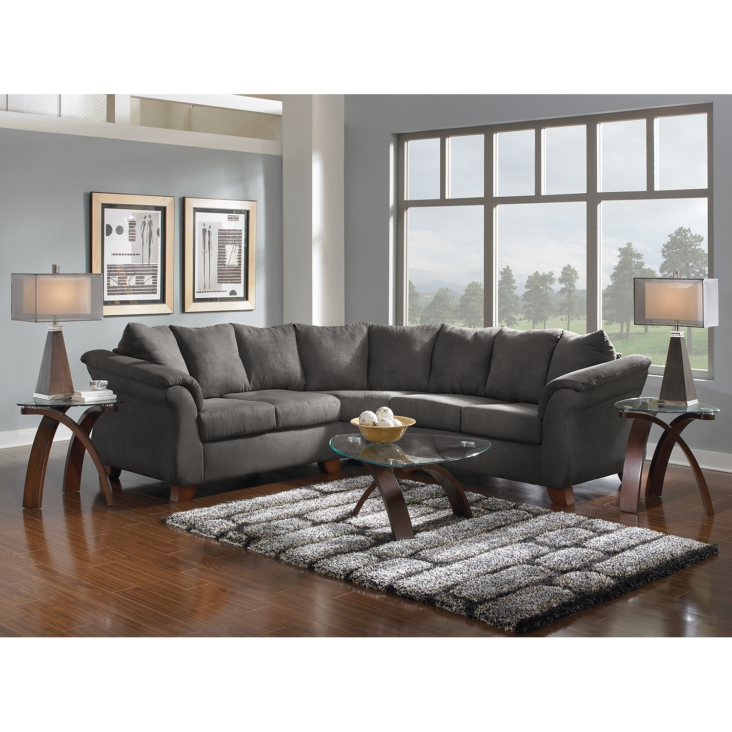 Adrian 2-Piece Sectional - Graphite | Value City Furniture