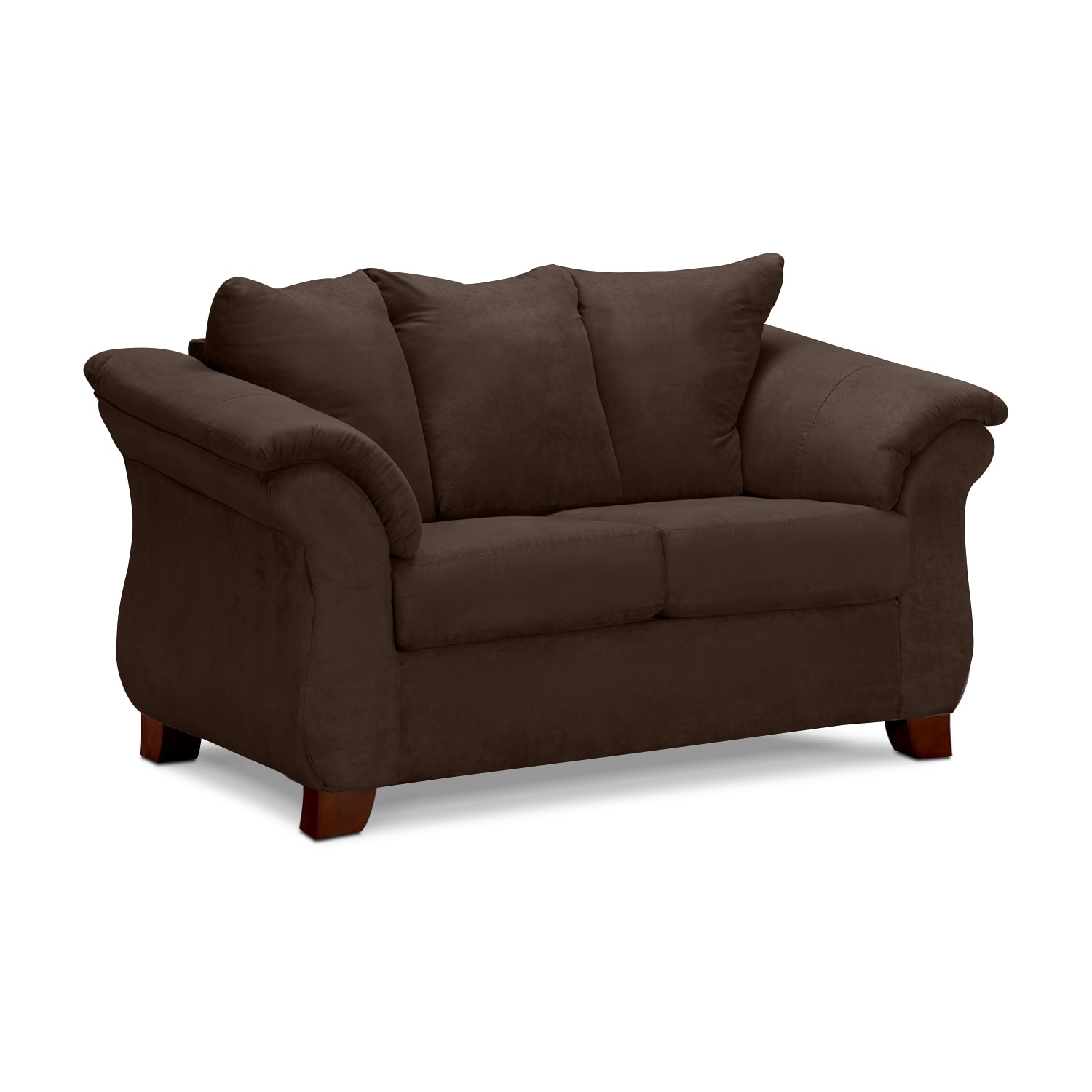 Living Room Furniture - Adrian Chocolate Loveseat