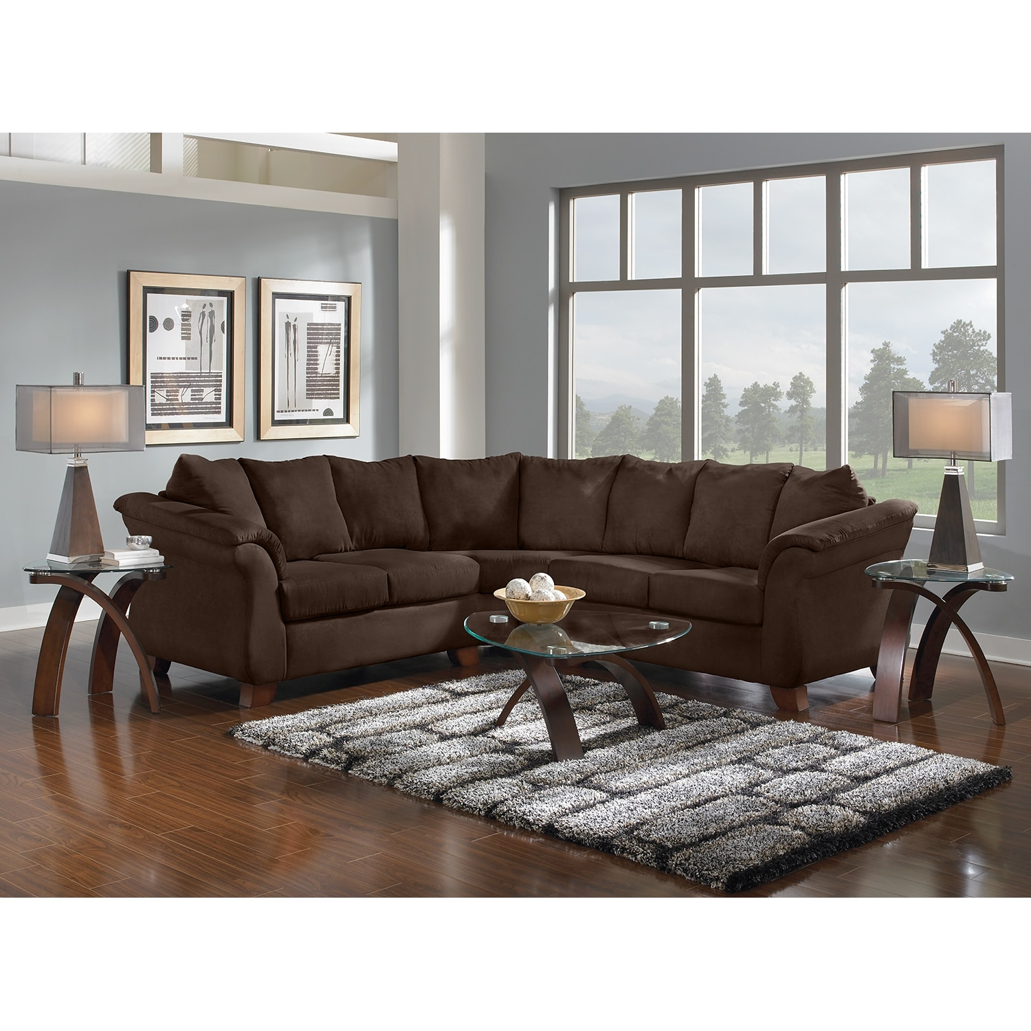 Adrian 2 Piece Sectional Chocolate
