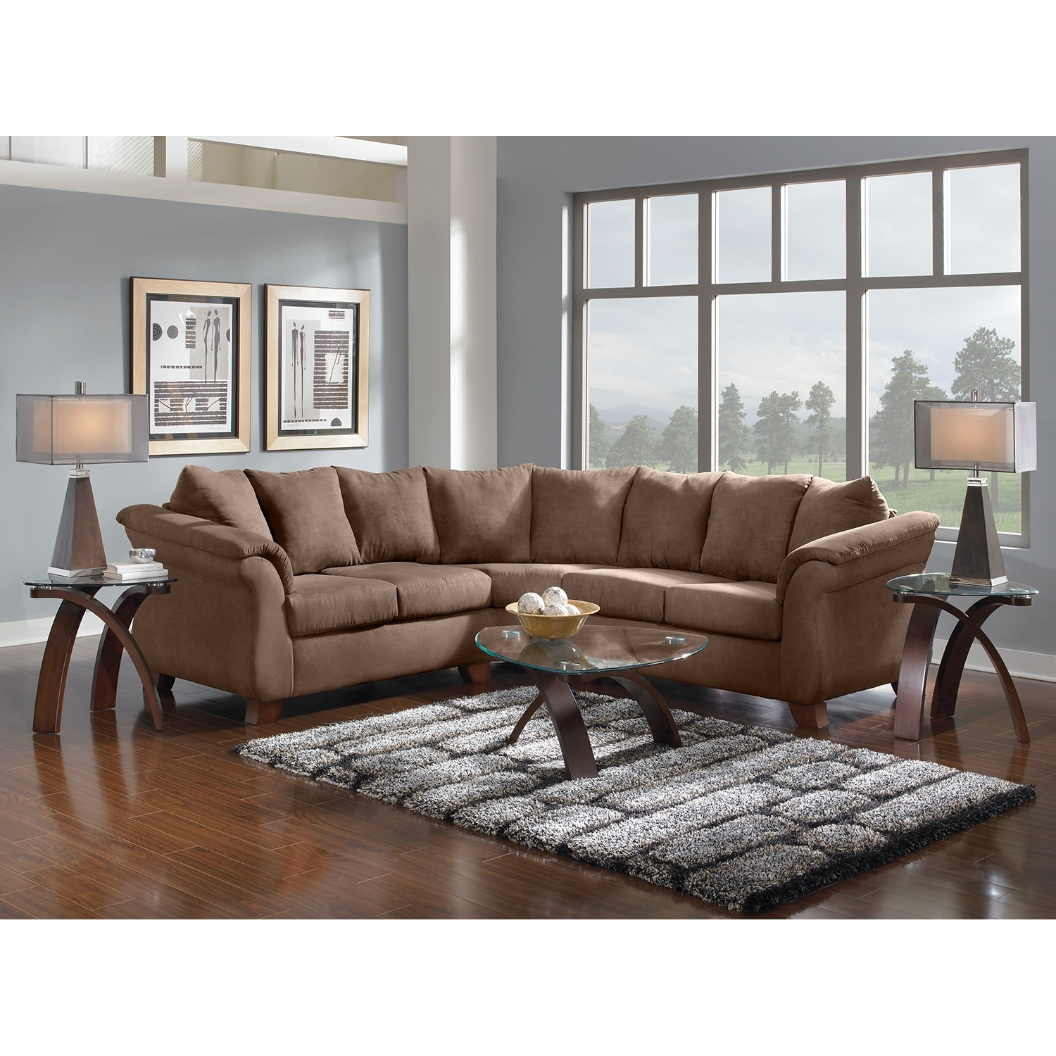 American Furniture Providence Sectional: Adrian 2-Piece Sectional - Taupe