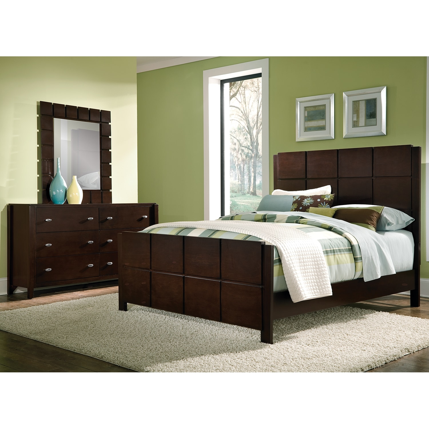 Mosaic 5 Piece Queen Bedroom Set Dark Brown